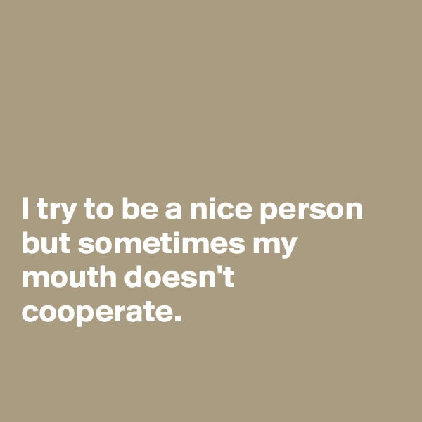 I try to be a nice person but sometimes my mouth doesn't cooperate.