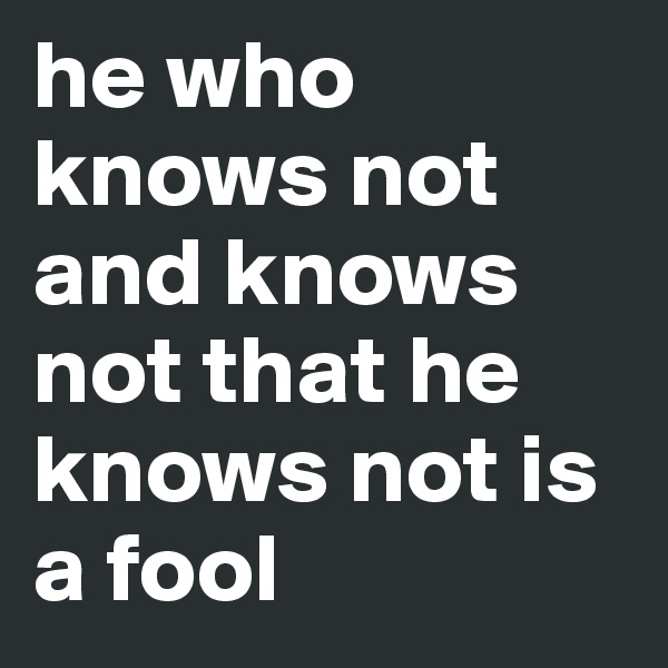 he who knows not and knows not that he knows not is a fool