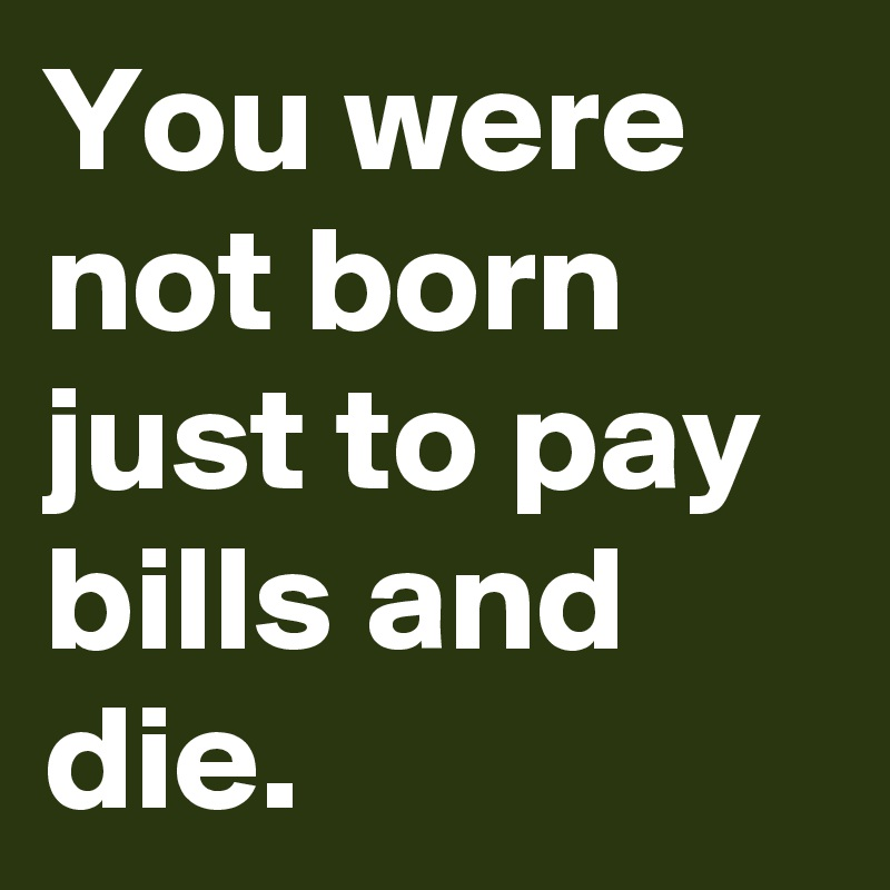 You were not born just to pay bills and die.