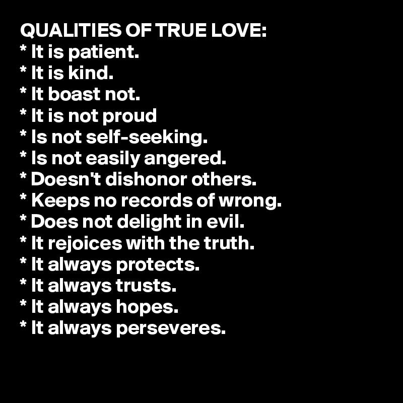 Qualities of love