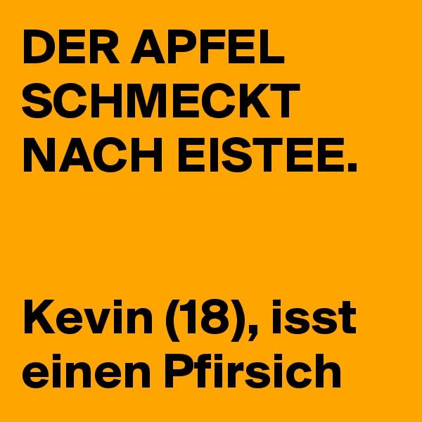 DER APFEL SCHMECKT NACH EISTEE.   Kevin (18), isst einen Pfirsich