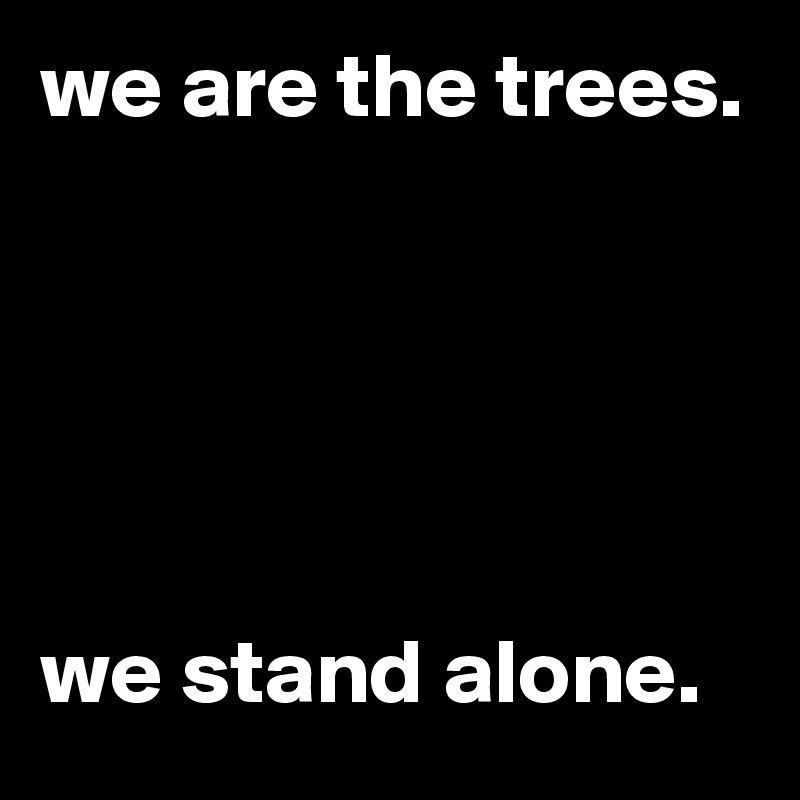 we are the trees.       we stand alone.