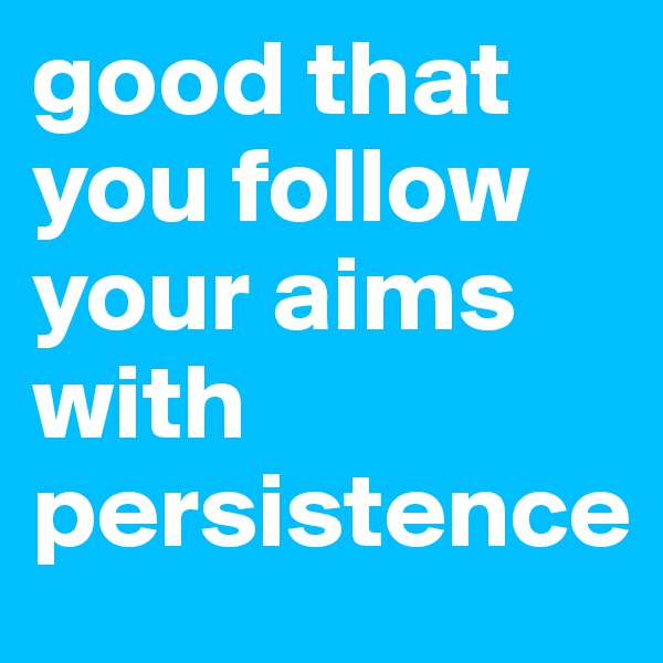 good that you follow your aims with persistence