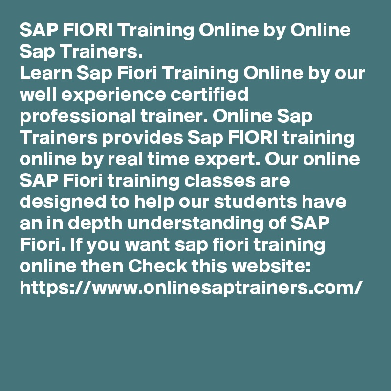 Fiori Online.Sap Fiori Training Online By Online Sap Trainers Learn Sap Fiori