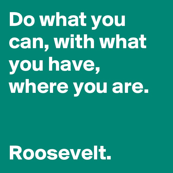 Do what you can, with what you have, where you are.   Roosevelt.