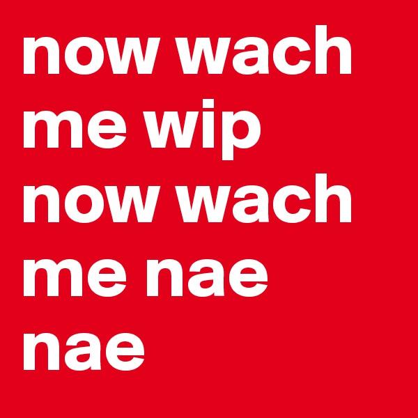 now wach me wip now wach me nae nae