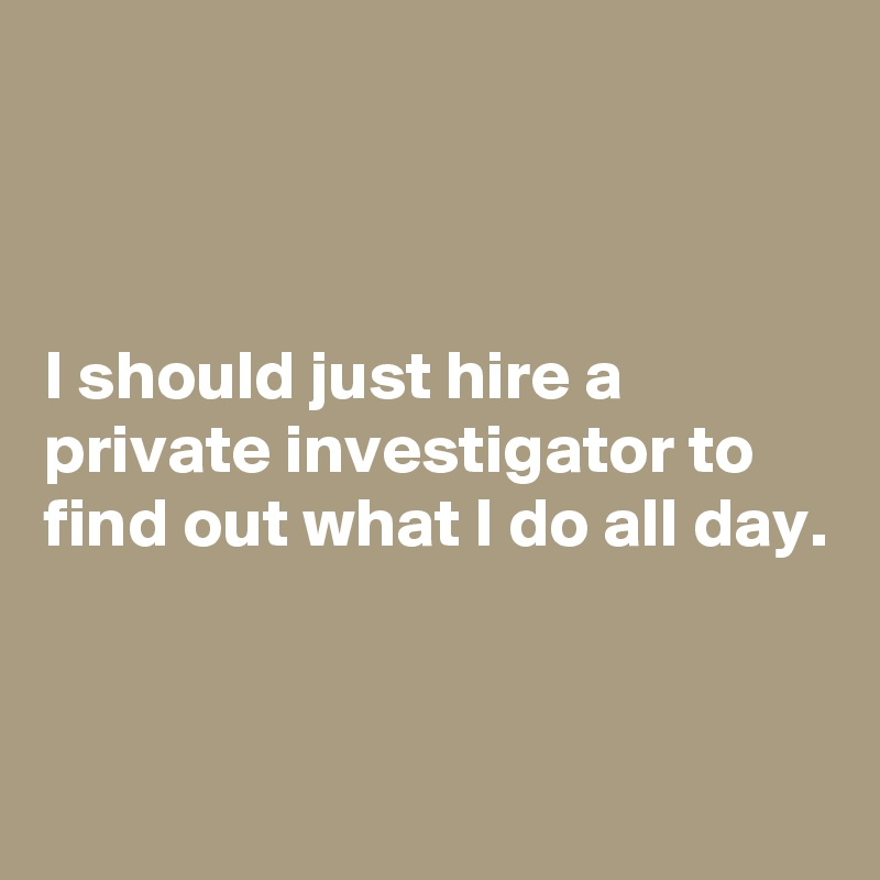 I should just hire a private investigator to find out what I do all day. - Post by schnudelhupf on Boldomatic