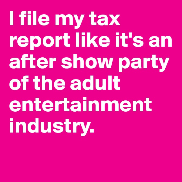 I file my tax report like it's an after show party of the adult entertainment industry.
