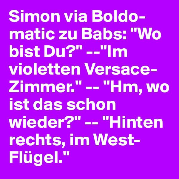 """Simon via Boldo-matic zu Babs: """"Wo bist Du?"""" --""""Im violetten Versace-Zimmer."""" -- """"Hm, wo ist das schon wieder?"""" -- """"Hinten rechts, im West-Flügel."""""""