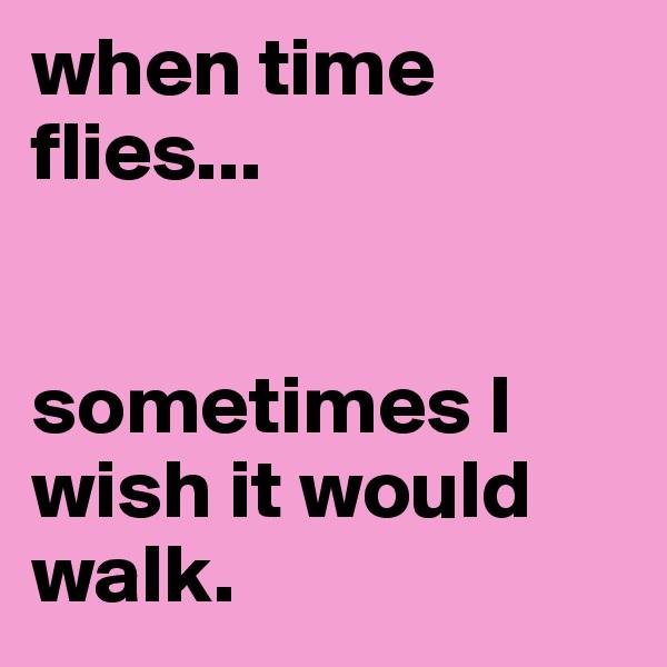 when time flies...    sometimes I wish it would walk.