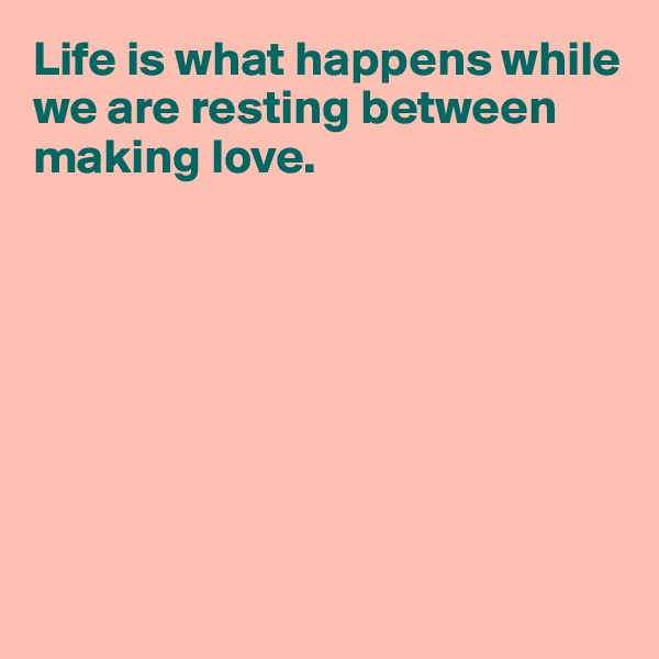 Life is what happens while we are resting between making love.