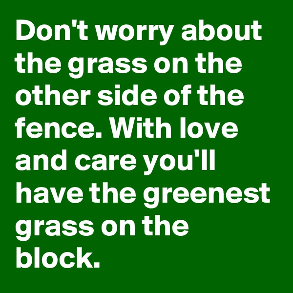 Don't worry about the grass on the other side of the fence. With love and care you'll have the greenest grass on the block.