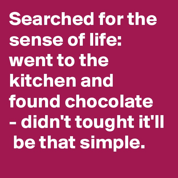 Searched for the sense of life: went to the kitchen and found chocolate  - didn't tought it'll  be that simple.