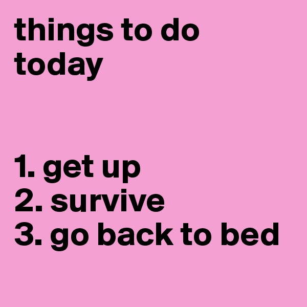 things to do today   1. get up 2. survive 3. go back to bed
