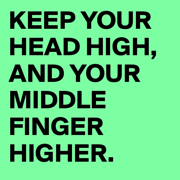 KEEP YOUR HEAD HIGH, AND YOUR MIDDLE FINGER HIGHER.