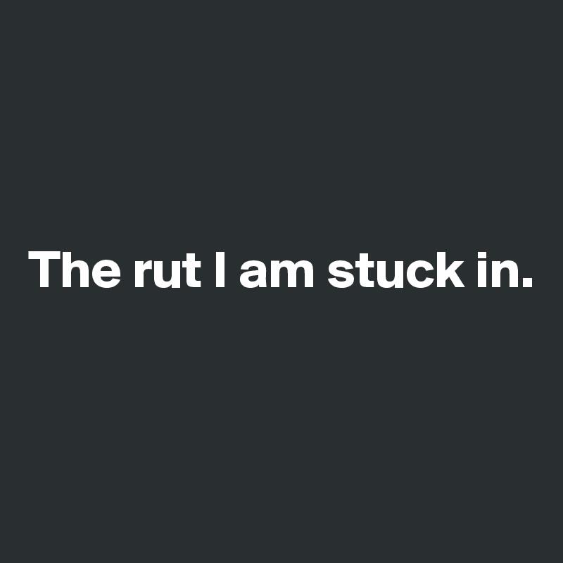 The rut I am stuck in.