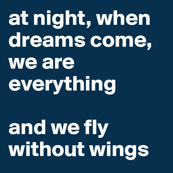 at night, when dreams come, we are everything  and we fly without wings