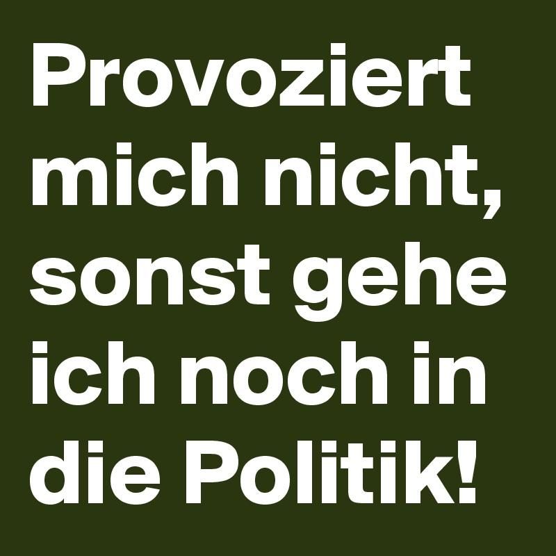 Provoziert mich nicht, sonst gehe ich noch in die Politik!