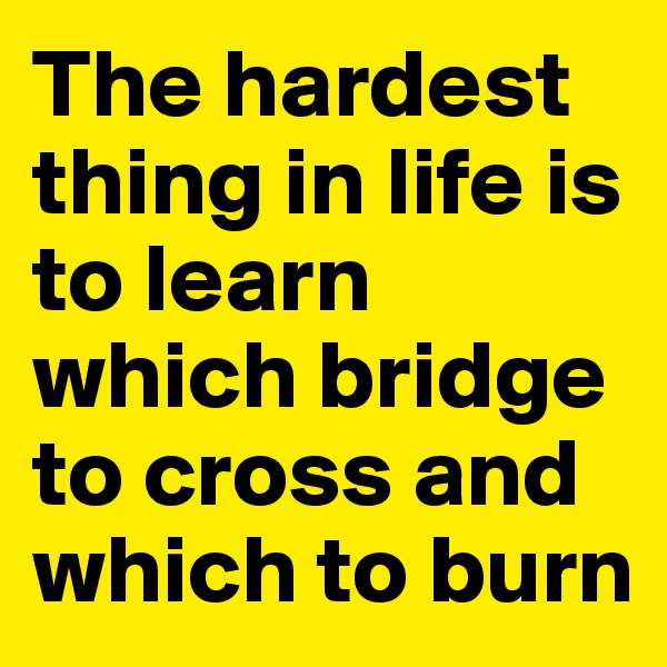The hardest thing in life is to learn which bridge to cross and which to burn