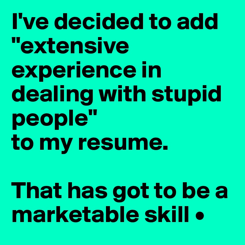 i ve decided to add extensive experience in dealing with stupid