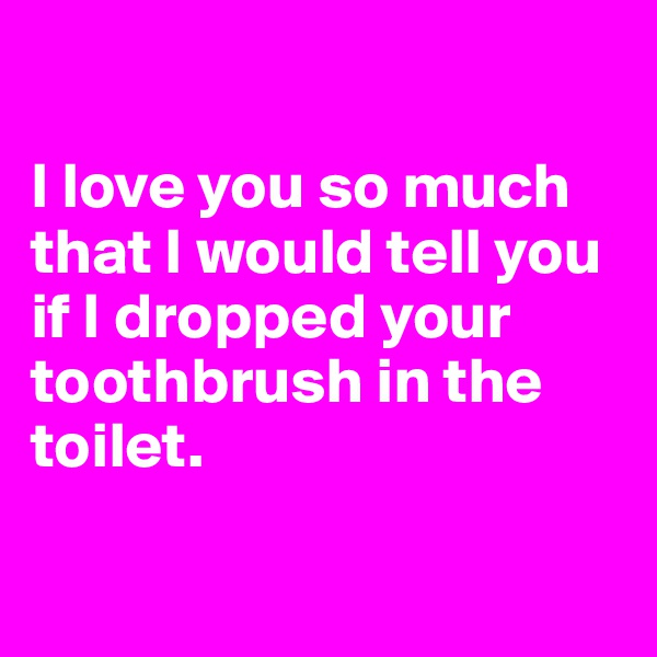 I love you so much  that I would tell you  if I dropped your toothbrush in the toilet.