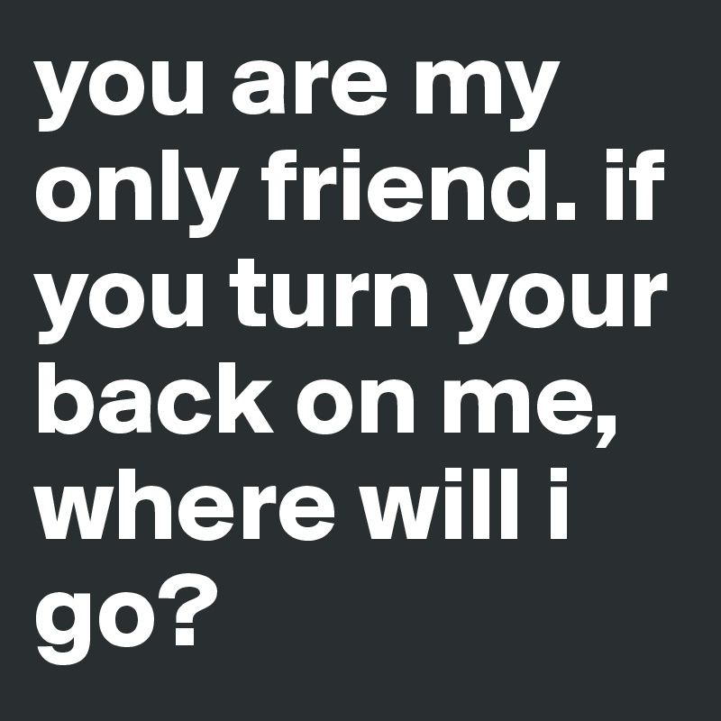 you are my only friend. if you turn your back on me, where will i go?