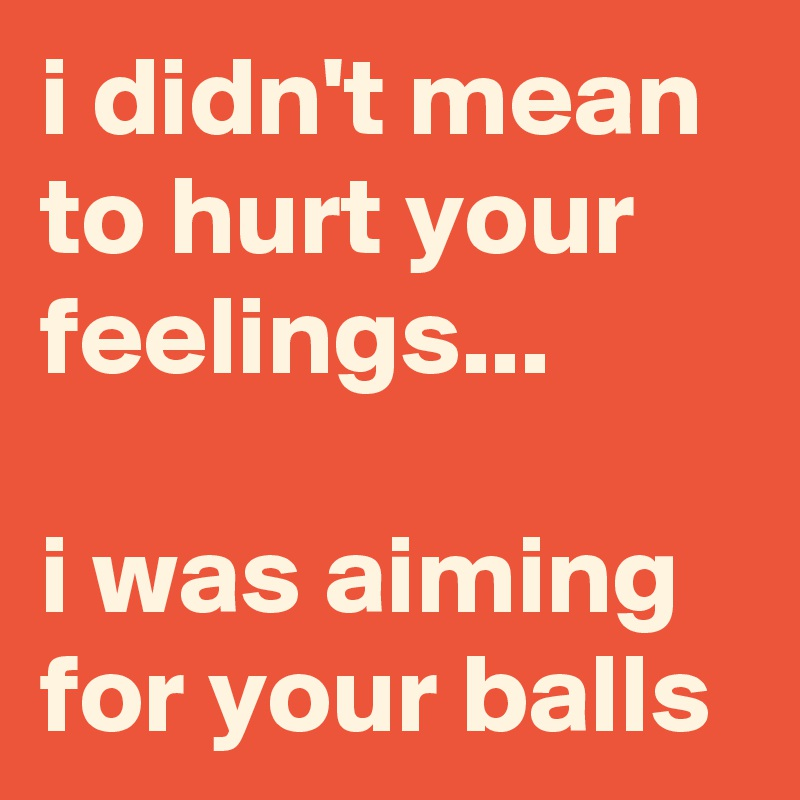 i didn't mean to hurt your feelings...  i was aiming for your balls