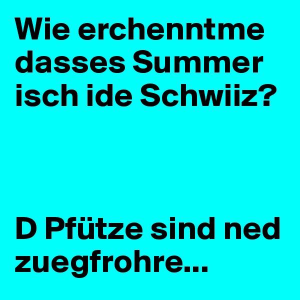 Wie erchenntme dasses Summer isch ide Schwiiz?     D Pfütze sind ned zuegfrohre...