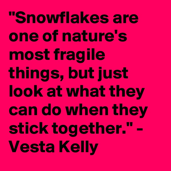 """Snowflakes are one of nature's most fragile things, but just look at what they can do when they stick together."" - Vesta Kelly"
