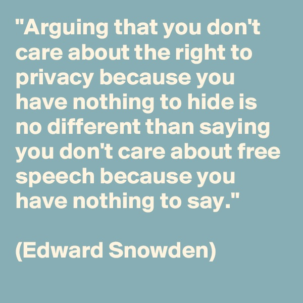 """""""Arguing that you don't care about the right to privacy because you have nothing to hide is no different than saying you don't care about free speech because you have nothing to say.""""   (Edward Snowden)"""