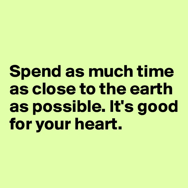 Spend as much time as close to the earth as possible. It's good  for your heart.