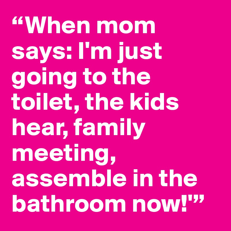"""When mom says: I'm just going to the toilet, the kids hear, family meeting, assemble in the bathroom now!'"""