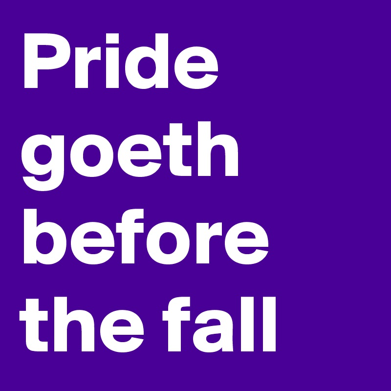 story on pride goes before a fall