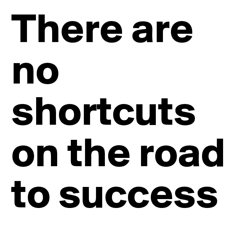 There Are No Shortcuts On The Road To Success Post By Bewustmakers