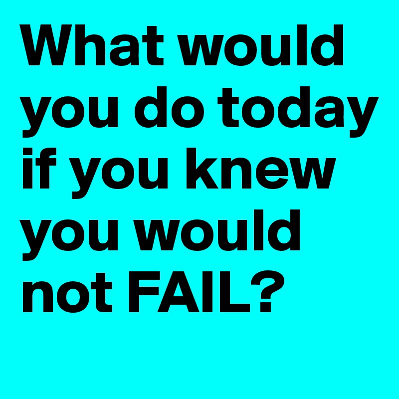 What would you do today  if you knew you would not FAIL?