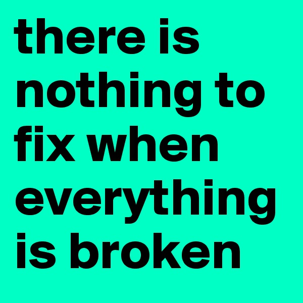 there is nothing to fix when everything is broken
