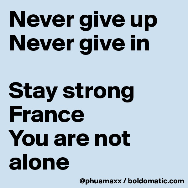 Never give up  Never give in  Stay strong France  You are not alone
