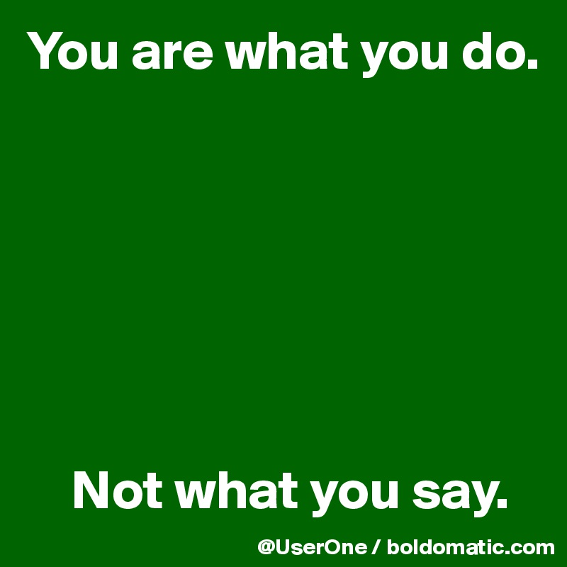 You are what you do.            Not what you say.