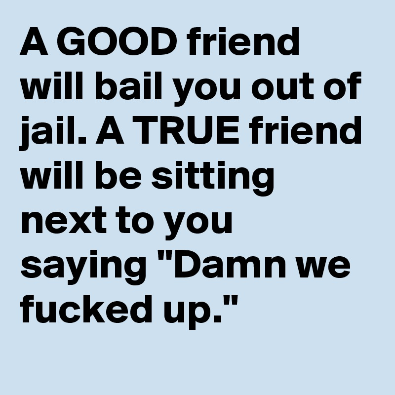 """A GOOD friend will bail you out of jail. A TRUE friend will be sitting next to you saying """"Damn we fucked up."""""""