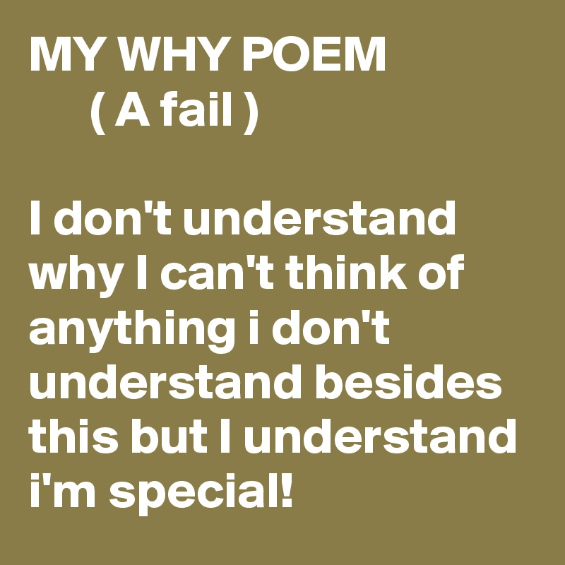 MY WHY POEM       ( A fail )  I don't understand why I can't think of anything i don't understand besides this but I understand i'm special!