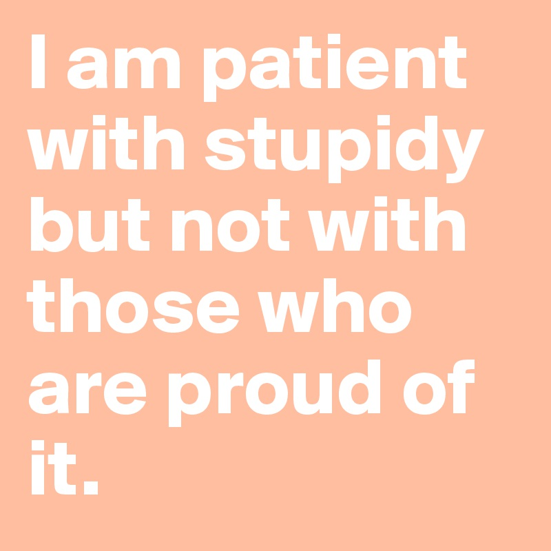 I am patient with stupidy but not with those who are proud of it.