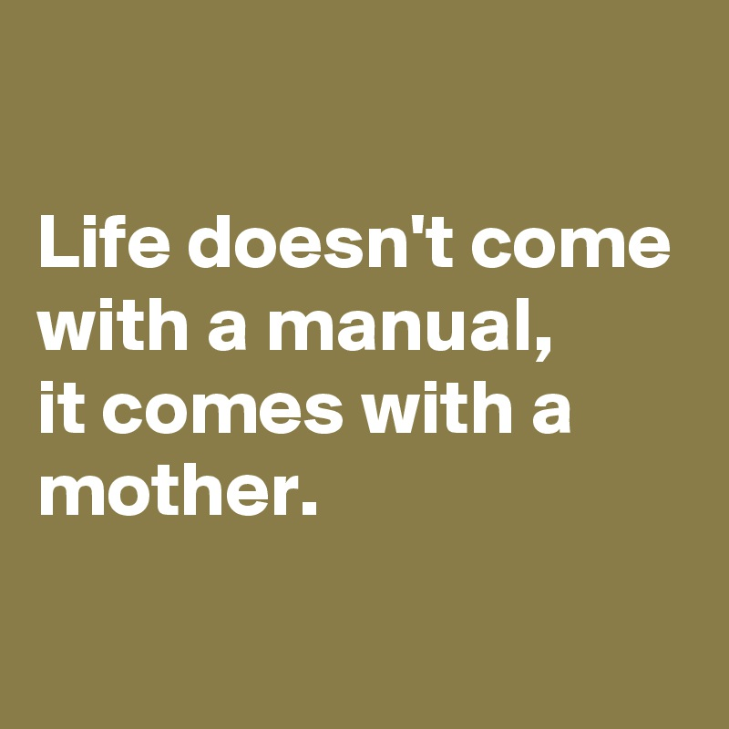Life doesn't come with a manual, it comes with a mother.