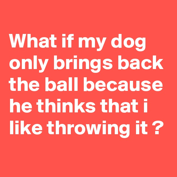 What if my dog only brings back the ball because he thinks that i like throwing it ?
