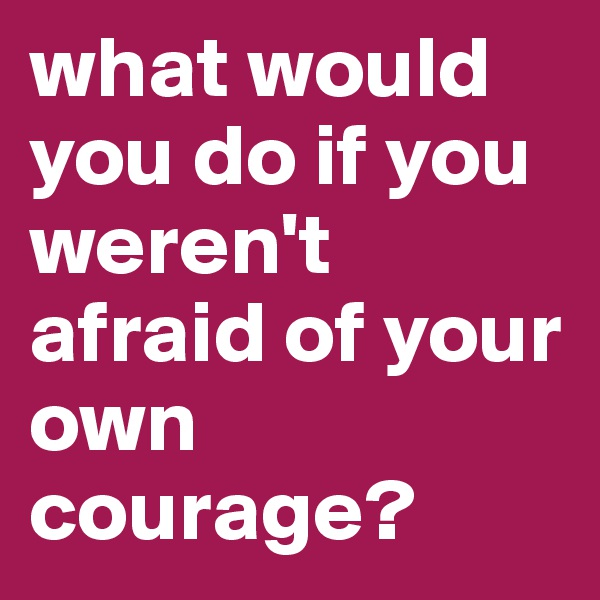 what would you do if you weren't afraid of your own courage?
