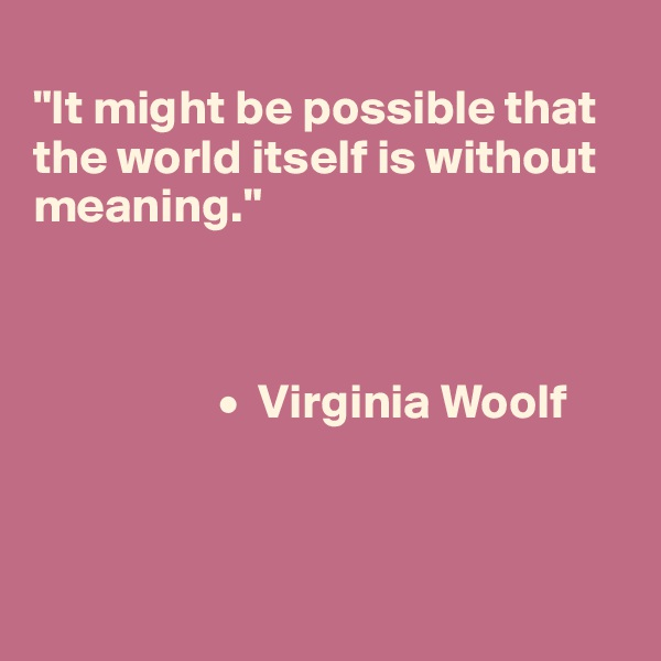 """""""It might be possible that the world itself is without meaning.""""                       •  Virginia Woolf"""
