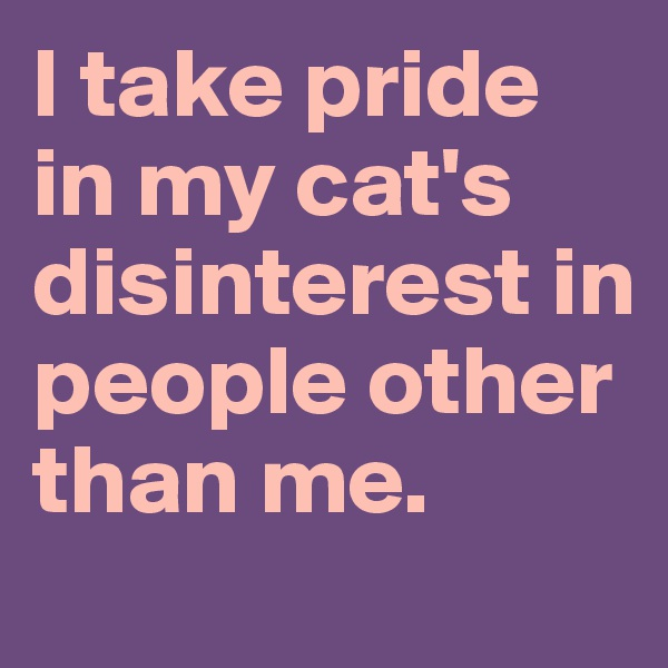 I take pride in my cat's disinterest in people other than me.