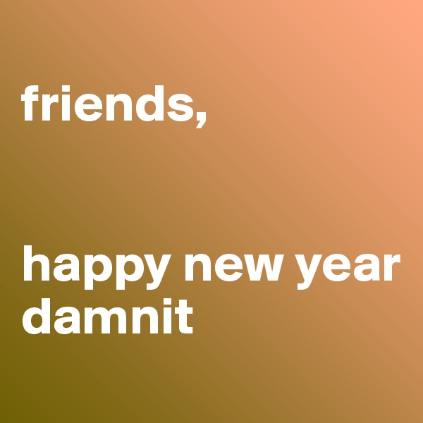 friends,   happy new year damnit