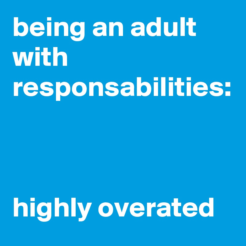 being an adult with responsabilities:    highly overated