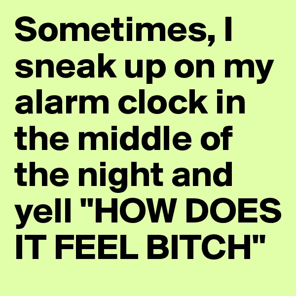 """Sometimes, I sneak up on my alarm clock in the middle of the night and yell """"HOW DOES IT FEEL BITCH"""""""