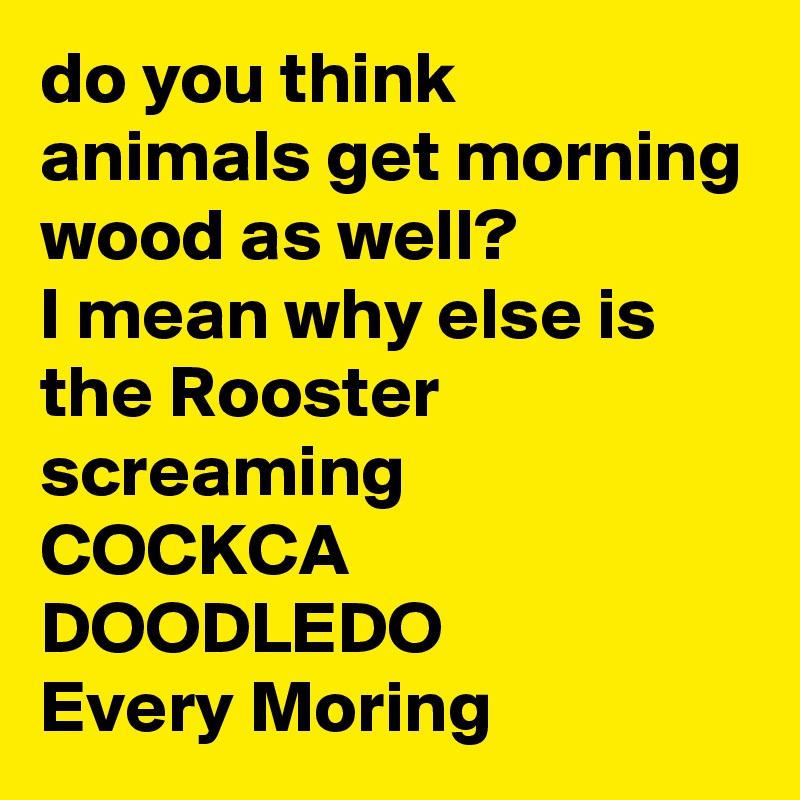 do you think animals get morning wood as well?  I mean why else is the Rooster screaming  COCKCA DOODLEDO Every Moring